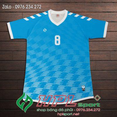 Áo đá banh không logo màu xanh nhạt đẹp 2022
